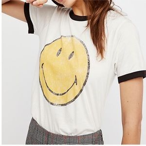 Daydreamer LA X Free People Smiley Face Ringer Tee
